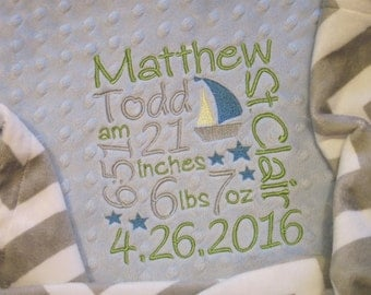 Personalized Birth Stats Baby Boy Minky Blanket