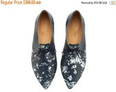 LAST SIZES SALE Lara shoes, Blue Colly ,Navy Blue,  handmade, Hand Printed, flats, leather shoes, by Tamar Shalem on etsy
