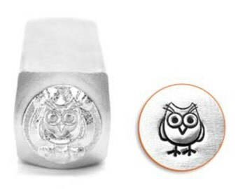 Impress Art Hootie Owl Metal Design Stamp- 6MM Steel Stamp- Steel Stamp- Jewelry Design Stamp- SGSC1513-L-6mm