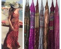 BOHO DRESS, mix SILK, maxi dress, long dress, sleeveless dress, bohemian dress, GYPSIe DRESs, fashion dress