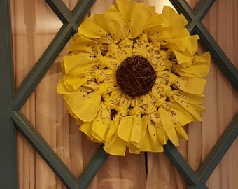 Small Sunflower Bandana Wreath - Made to Order