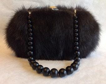 Vintage Black Mink Evening Bag