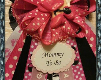 Hot Pink & Zebra Print Minnie Mouse Mommy To Be Corsage Minnie Mouse Theme Zebra Print Theme Baby Shower Corsage Capia-Gala Corsage