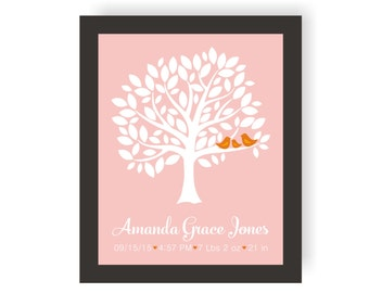 Family Tree Birth Announcement Wall Art - Custom Birth Stats, Personalized New Baby Announcement, Modern Nursery, Birth Dates, Baby Keepsake