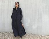 Black dress- Maxi dress-long sleeve dress-Summer dress-Long loose Dress-Kaftan-Oversized maxi dress