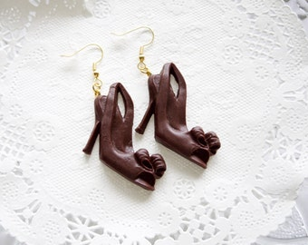 Polymer Clay Chocolate Pumps Earrings