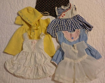 Large Vintage Doll Clothes - Dresses, Slips, Wool Coat & Bonnet - All Handmade