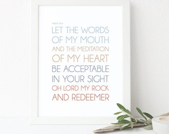 Bible Verse Art  -  Psalm 19:14 - Scripture Print