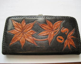 Vintage Leather Wallet Coin Purse Brown Orange Leaves Initials O S on Front
