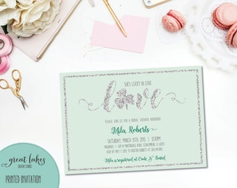 Mint Green Lucky in Love Bridal Shower Invitation, St. Patrick's Day Bridal Shower Invitation, Irish Wedding Shower {PRINTED OR PRINTABLE}