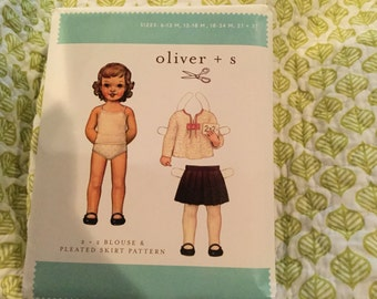 Pattern destash oliver and s 2+2 blouse and pleated skirt size 6M-3T