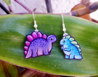 Tiny Dinosaur Pink Purple Blue Green Asymmetrical Dino Firefly Wash Chibi Cute Metal Earrings