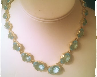 STUNNING SWAROVSKI Aquamarine Necklace and Earrings