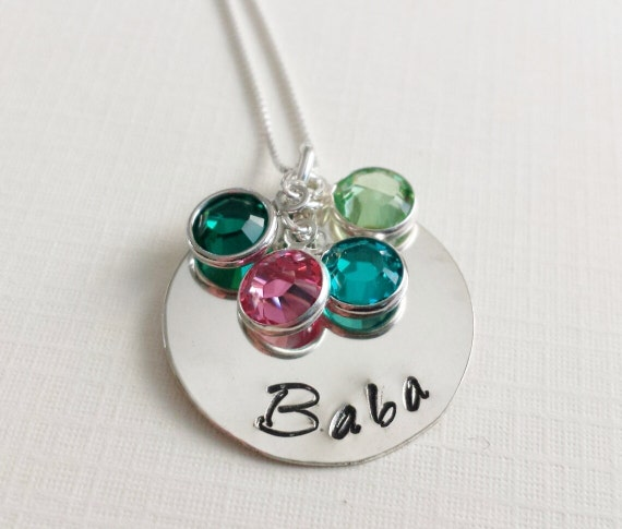 Baba Necklace / Personalized Jewelry / Hand Stamped Necklace / Grandma Necklace / Necklace with Grandkids Birthstones / Grandma Gift