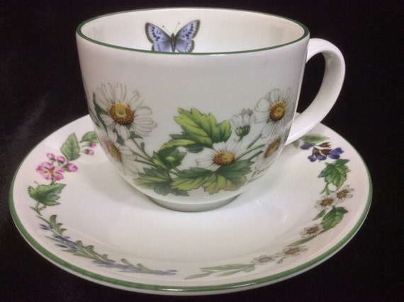 Royal Worcester Cup & Saucer Set, Worcester Herbs Pattern, Botanical Florals, Drinkware Tea Coffee, Wild Thyme