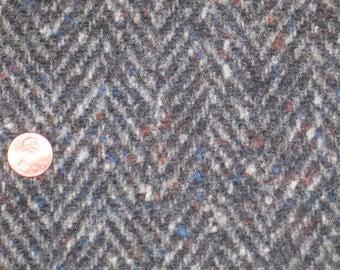 """Mid Century Vintage Wool Fabric HERRINGBONE~NOS UNUSED~59""""x53"""""""
