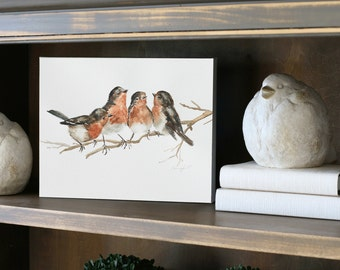 fall gift for her mom gift bird painting bird on canvas painting shabby chic wall hanging CANVAS REPRODUCTION french country decor cottage h