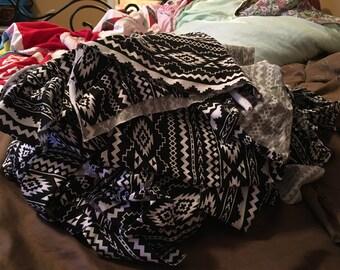 Fabric scraps, knit scraps, black and white axtec