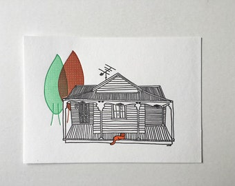 The Cat and The House letterpress mini print