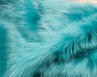 "Turquoise 60"" Wide Shag Fur Fabric by the yard,Soft Fake Fur Fabric,Newborn Fur,Faux fur Coat, Vest, Throws,Pillows - 1 Yard Style 5002"