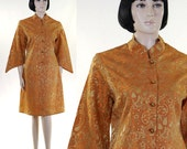 Vintage 1968 Women's Satin Brocade Nehru Dress/Jacket / Orange & Gold / Gold Ball Buttons / Handmade / Nehru Collar