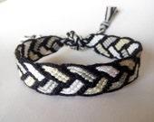 Friendship Bracelet, Macrame, Woven Bracelet, Wristband, Knotted Bracelet, Mens Bracelet - Black Grey White braided bracelet