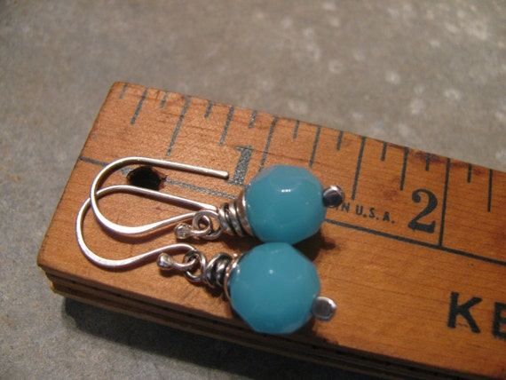 Opaque Aqua Blue Glass and Sterling Silver Earrings Handmade/Hand Forged Dangle Earrings- Toniraecreations