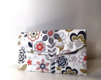 Gift for women/Flower Clutch/ready to ship/gift idea/orange gray clutch/orange floral clutch/fall wedding/olive gray handbag/falling leaves
