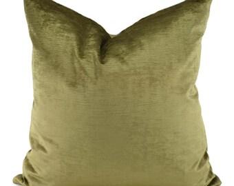 Throw Pillow Cover, Olive Green Velvet Pillow Cover, 20x20, Accent Pillow, Lumbar Pillow