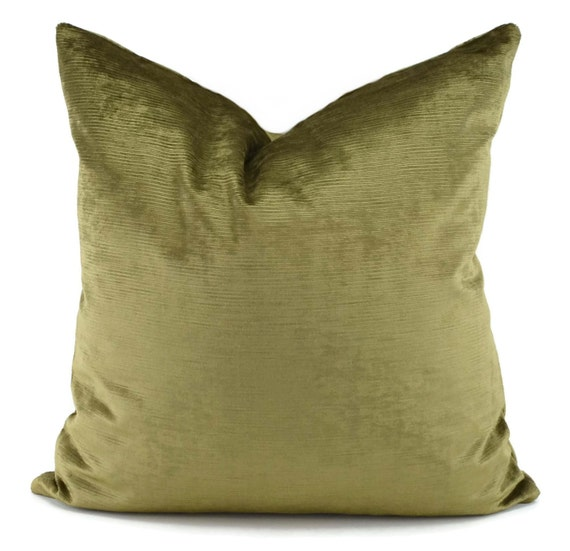 Throw Pillow Cover Olive Green Velvet Pillow Cover 20x20