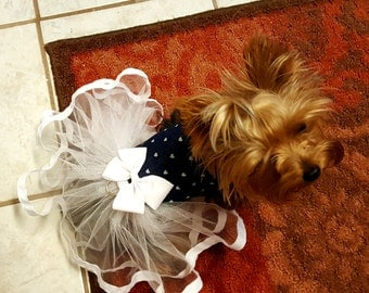 Dog Tutu Dress,  Dog Clothing, Dog Wedding Dress, Pet Clothing, Denim and Tulle