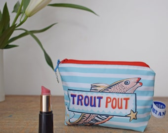 Trout pout cosmetic bag, striped, fully lined, waterproof