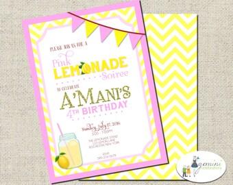 Pink Lemonade Birthday Invitation, Printable Birthday Invitation
