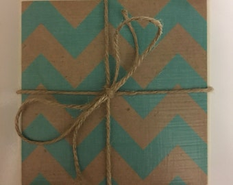 Ceramic Tile Coasters..Turquoise & Brown Chevron..Decoupage Tile Coasters..set of 4..Gift