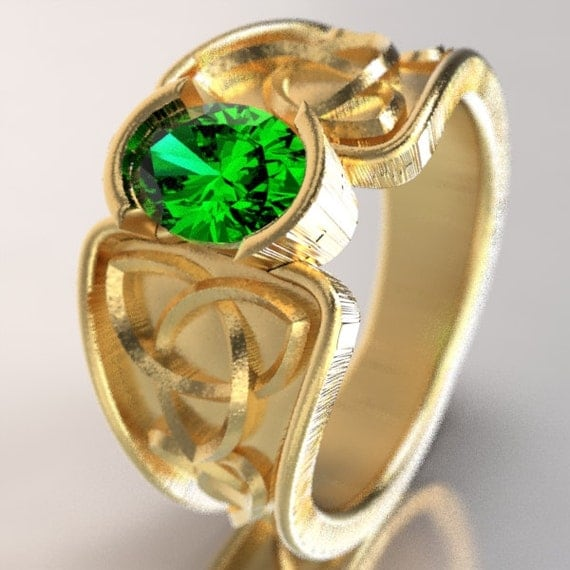 Celtic Emerald Ring With Trinity Knot Band Ring Design in 10K 14K 18K Gold, Palladium or Platinum, Made in Your Size CR-17d