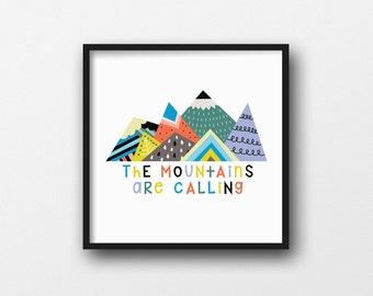Modern Printable Nursery Art - The Mountains Are Calling - Scandinavian Nursery Art - Colorful - Geometric - Triangles - Modern - SKU:4801