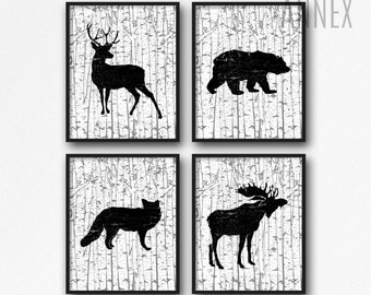 Set of Four - Woodland Art Printables - Nursery Wall Art - Nursery Decor - Baby Shower Gift - Rustic Nursery - Deer - Moose - Fox - SKU:7067