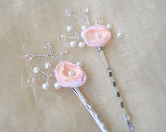 peach rose hair clip flower hair pins peach rose hair clips bridesmaid rhinestone hair clip crystal hair clip wedding hair clip flower clip