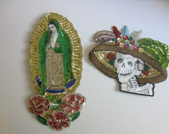 Vintage Mexican Large Sequined Day of the Dead Our Lady of Guadalupe Folk Art Patches