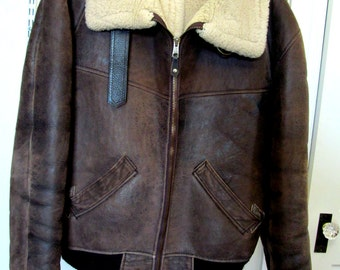Vintage Leather Bomber Jacket Sheepskin Shearling Aviator Armed Forces Size 44 Near New