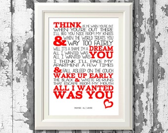Paramore - All I Wanted -  8x10 picture mount & Print Typography song music lyrics for self framing