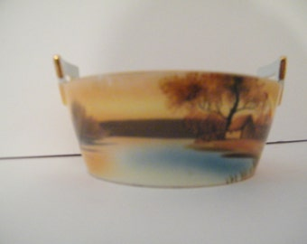 Noritake Hand Painted Bowl with handles, vintage Murimora is  Hand Painted and dates from 1920-1940