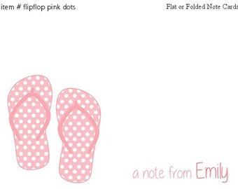 Pink Dots Sandals Flipflops Note cards Personalized Stationery Set of 10 flat or folded notecards
