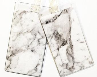 Luggage Tag Pair -- White Marble