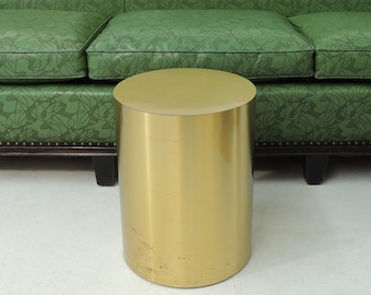 Vintage Style of Mastercraft Brass Drum Side Table Stand Jere Era