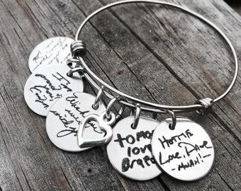 Custom Handwriting Bracelet - Handwriting Jewelry -Bracelet bangle - Memorial - Signature Jewelry - Signature Bracelet - Personalized Engrav