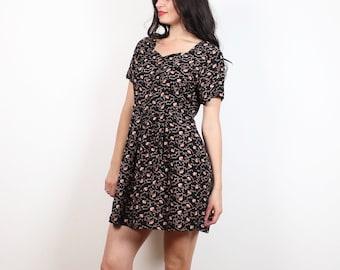 Vintage Soft Grunge Dress 1990s Black Tan Brown Gold Liberty Ditsy Floral Print Mini Dress 90s Babydoll Dress Dolly Hipster S Small M Medium