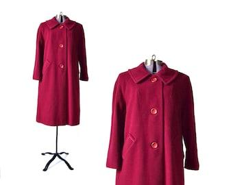 Vintage Coat, Red Winter Coat, 1950s Coat, 50s Coat, 1960s Coat, 60s Coat, Red Wool Coat, Womens Coat, Vintage Clothing, large winter coat
