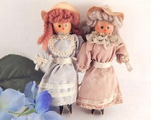 Cloths Pin Dolls Two Victorian Women Figures  5 Inch Wood and Fabric Dolls Vintage 1940's Hand Crafted Antique Folk Art