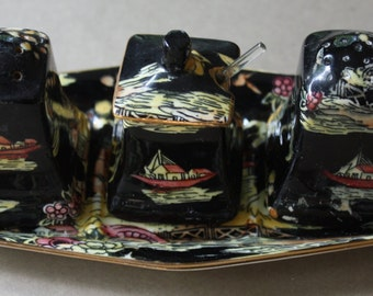 Royal Winton Grimwades Salt and Pepper Shakers and Mustard Pot on Tray